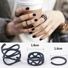 3 шт., панковские Многослойные кольца с поперечным кончиком пальцев, женские черные кольца, простые кольца выше кончика пальцев, набор для женщин, Anel