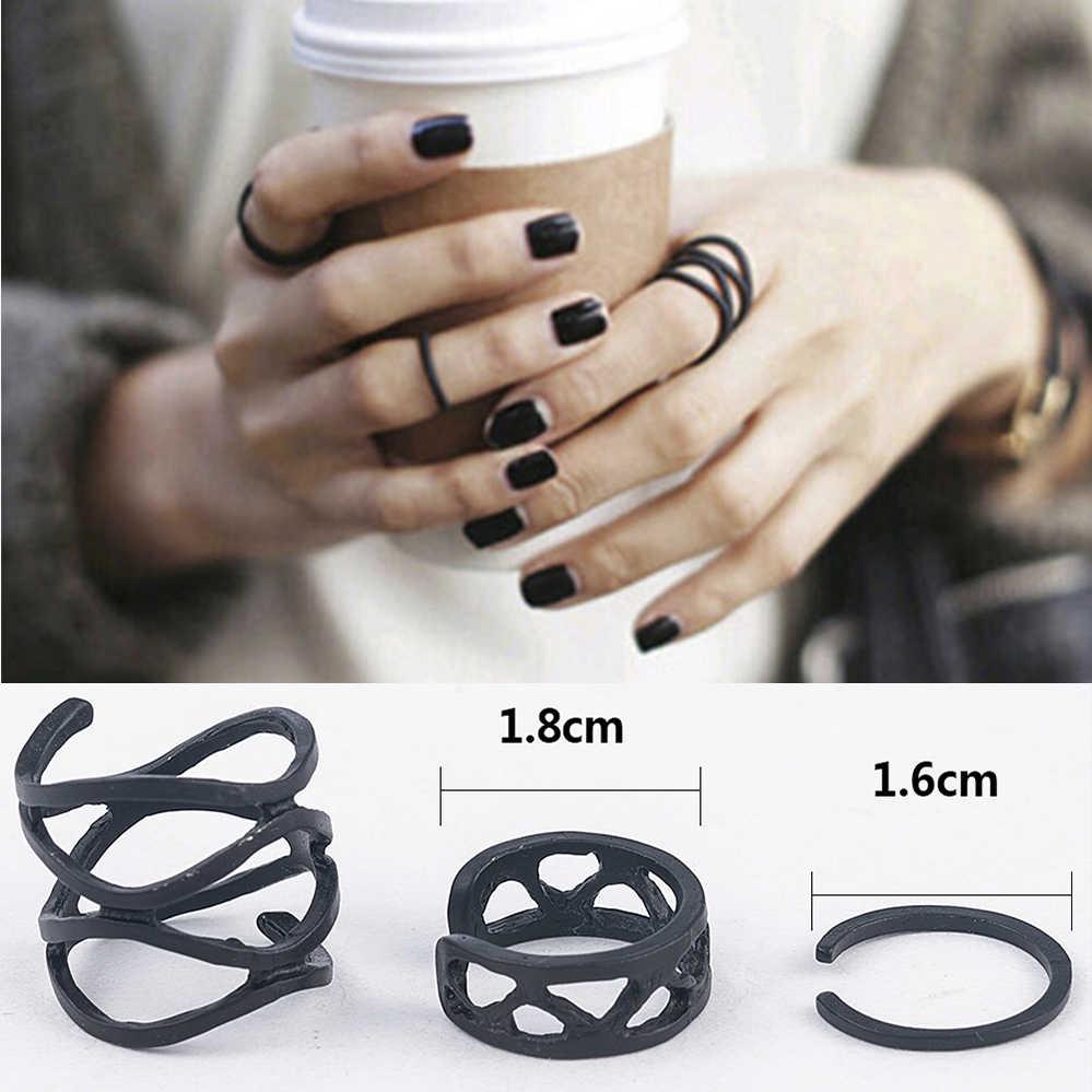 3Pcs Punk Multilayer Hollow Cross Finger Tip Rings Female Black Stack Plain Above Knuckle Ring Set For Women Anel