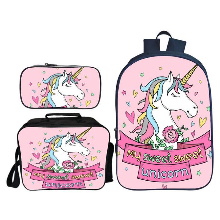 3pcs/set Children Unicorn Printing Backpack Students Book Bag With Purse Case Bagpack Kids School Bag For Teenager Girls