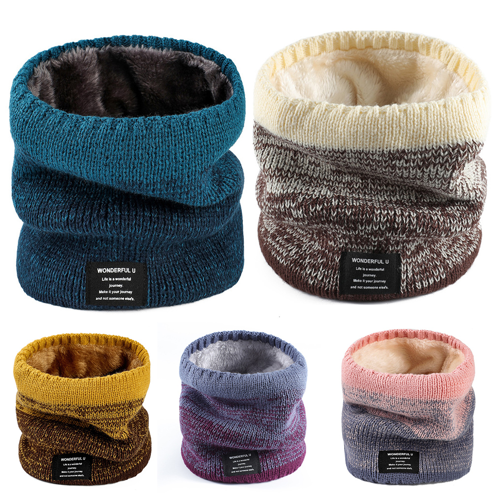 Unisex Winter Men Women Warm Knitted Ring Scarves Thick Elastic Knit Mufflers Children Neck Boys Girl Plush Warmer Scarf Collar