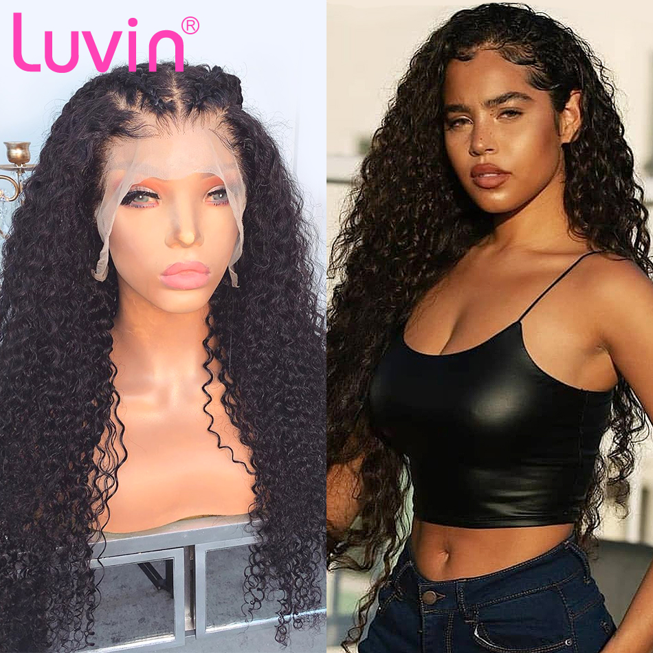 <font><b>Luvin</b></font> 200 density 28 30 Inch <font><b>Deep</b></font> <font><b>Wave</b></font> 13x6 Glueless Curly Lace Front Human Hair Wigs Black Women Brazilian Frontal Wig Plucked image