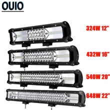 цена на 12'' 16'' 20'' 22'' 3-Row Offroad LED Light Bar Combo Led Work Light Bar 12V 24V Truck SUV ATV 4WD 4x4 LED Car Light Fog Lamp