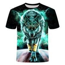 2021 novo casual impressão em 3d de lobo animal de manga curta