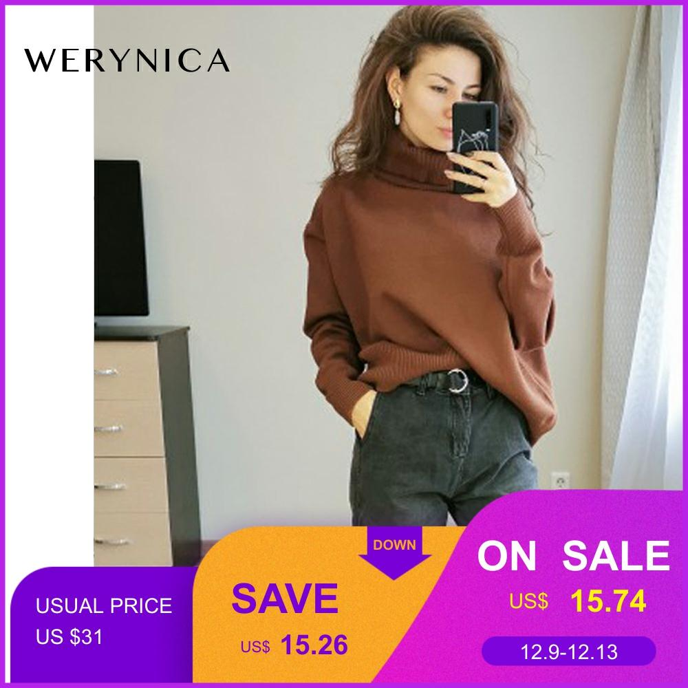 Werynica New Autumn Winter Women Loose Knitted Sweater Oversized Turtleneck Sweater Long Sleeves Women Outwear Solid Pullover