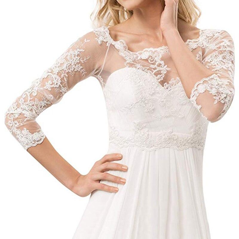 Bridal 3/4 Sleeve Bolero Jacket Shawl White Ivory Lace Applique Custom Wedding Accessories Jackets