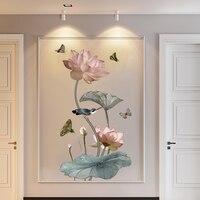 Pegatinas de pared de caligrafía china con flor de loto y mariposa, calcomanía de vinilo para decoración del hogar, Mural artístico, calcomanías de pared de salón