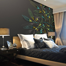 Wall Murals Wall-Painting Living-Room Abstract Tv Background Non-Woven Personality-Leaves-Leaves