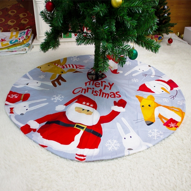 2021 Christmas Tree Skirt Santa Claus Elk Round Carpet Christmas Decorations For Home Party Office Floor Mat New Year Decor 1