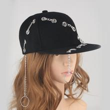 Punk Hats Iron Ring Chain Hip Hop Cap Baseball Caps Black Style Snapback Metal Trucker Hat for Men Women Bone
