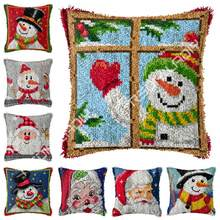 Latch Hook Merry Christmas Cushion Cover Pre-Printed Canvas Yarn Crocheting Art & Crafts Pillow Case Sofa Bed Pillows Home Decor(China)