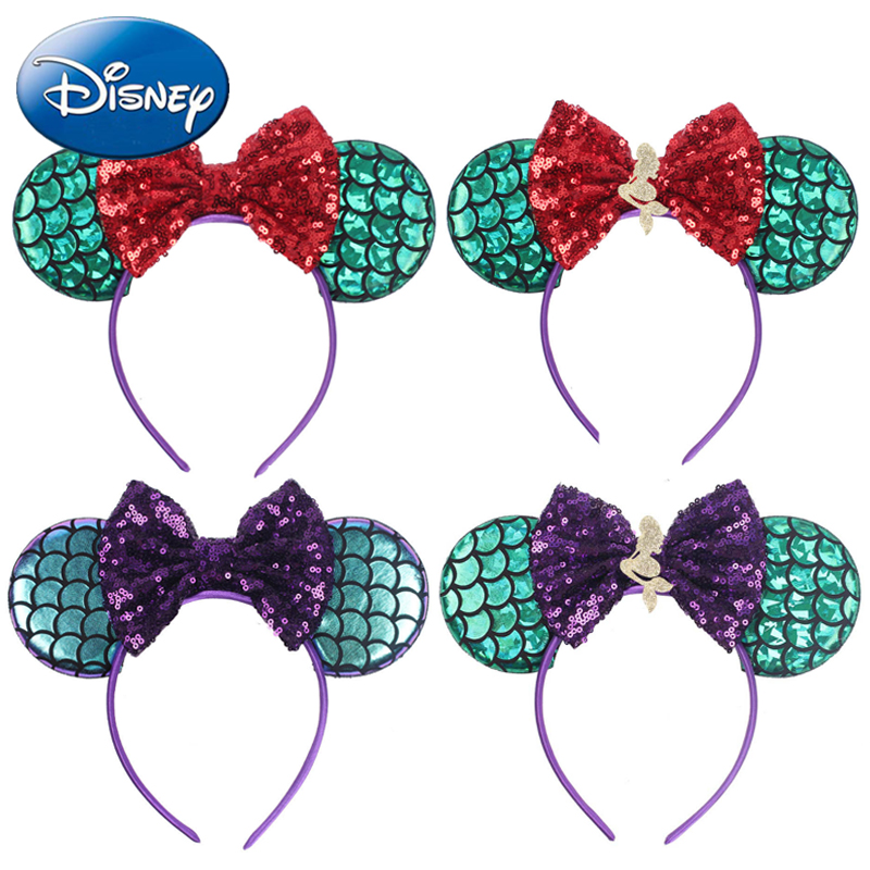 Disney 2019 Cute Girls Bows Headband Ears Hair-Accessories Kid Women Head-Accessories Headdress Head Hair-Band Festival Party