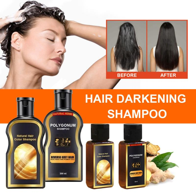 30ML Natural Black Hair Care Shampoo Natural Hair Color Solid Hair Shampoo Grey Reverse Hair Color Hair Darkening Shampoo TSLM1