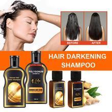 30ML Natural Black hair care shampoo natural hair color solid hair shampoo Grey Reverse Hair Color hair darkening shampoo TSLM1