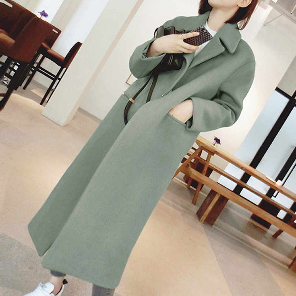 KANCOOLD casacos Trench Longa Outwear Lapela Sobretudo de Lã Das Mulheres Inverno Quente Mais nova moda casacos e jaquetas mulheres 2019Sep30
