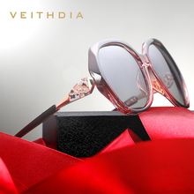Veithdia óculos de sol feminino polarizado, óculos de sol feminino polarizado, com lentes degradê, de luxo tr90 3171