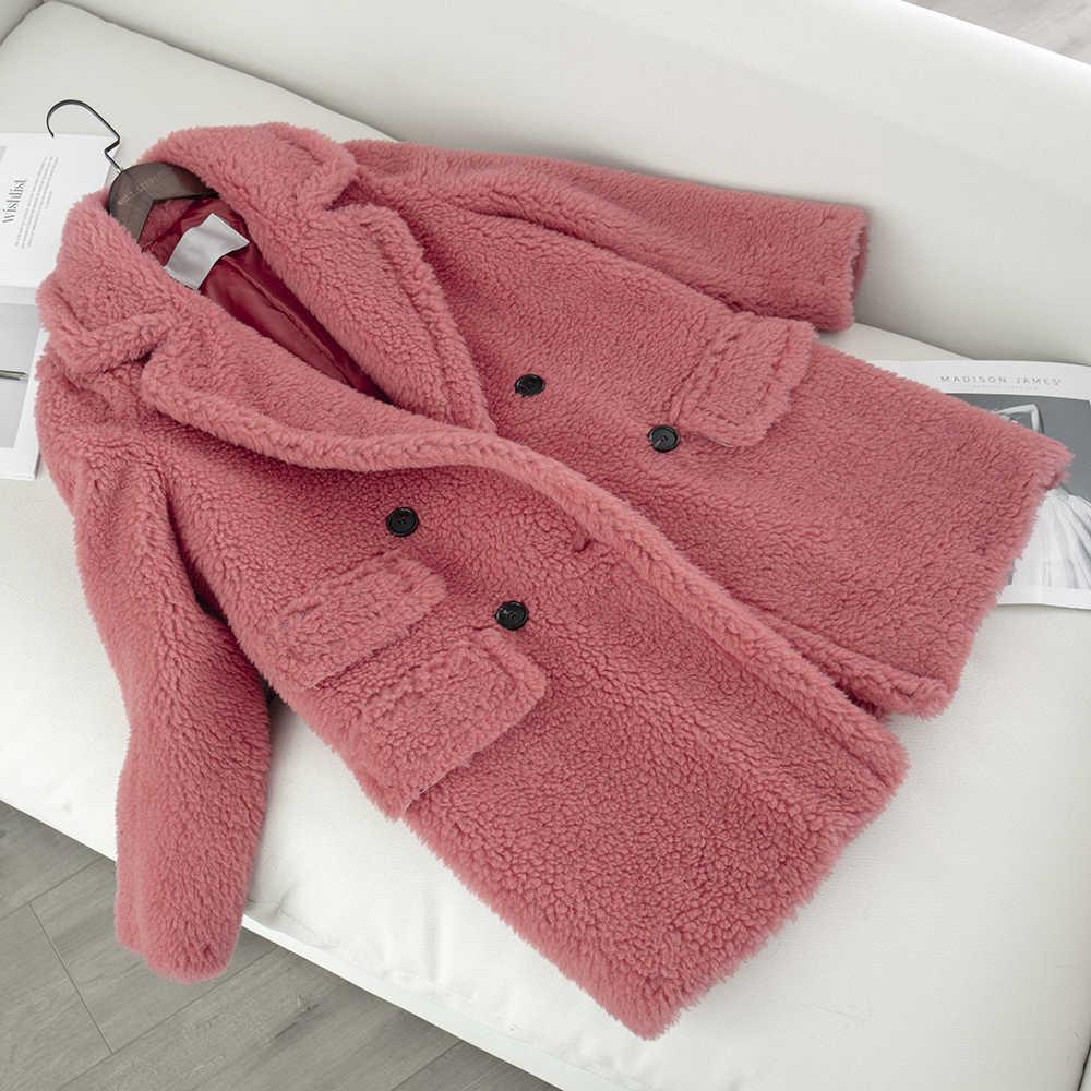 Женская куртка из натуральной шерсти с плюшевым мишкой, новинка 2019, модная куртка из натурального овечьего меха, женская теплая зимняя верхняя одежда больших размеров, шерстяная ткань