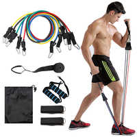 11 teile/satz Pull Seil Fitness Übungen Widerstand Bands Latex Tubes Pedal Excerciser Körper Training Workout Yoga