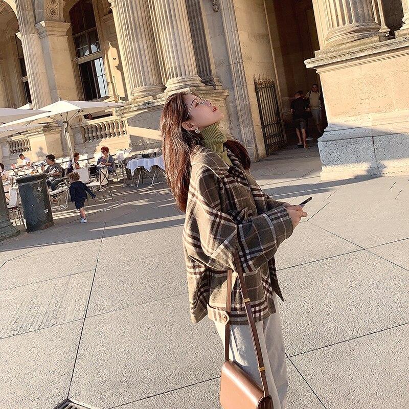 MISHOW 2019 Autumn Winter Gray Thick Woolen Coat Women Causal Lapel Striped Plaid Long Sleeve Coat Jackets  MX19C9538 4