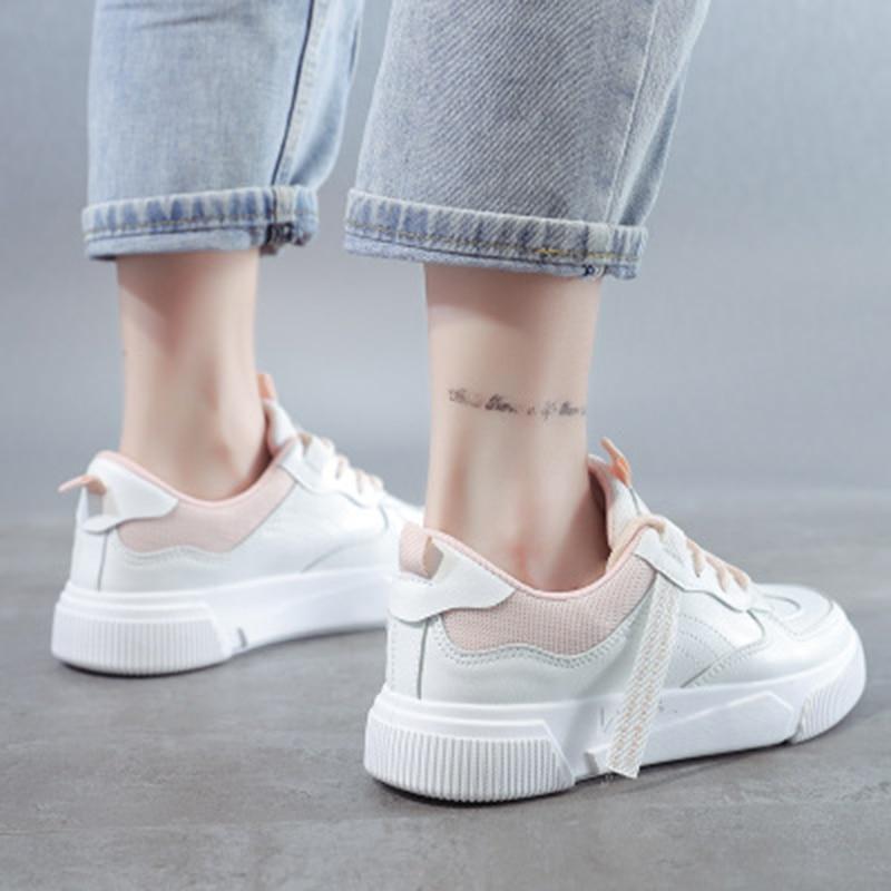 SWQZVT Summer Autumn Sneakers Women Breathable Flat Lace-up Women Vulcanize Shoes White Walking Leather Female Casual Shoes 2020 (18)