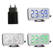 Cyfrowy budzik led z wtyczką ue wyświetlanie czasu drzemki nocny led stół biurko budzik lustro zegar 2 porty USB ładowarka do telefonu