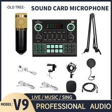 Heißer Verkauf V9 Soundkarte BM800 Pro Mikrofon Mischer Audio DJ MIC Ständer Kondensator USB Karaoke KTV Professionelle Aufnahme Live