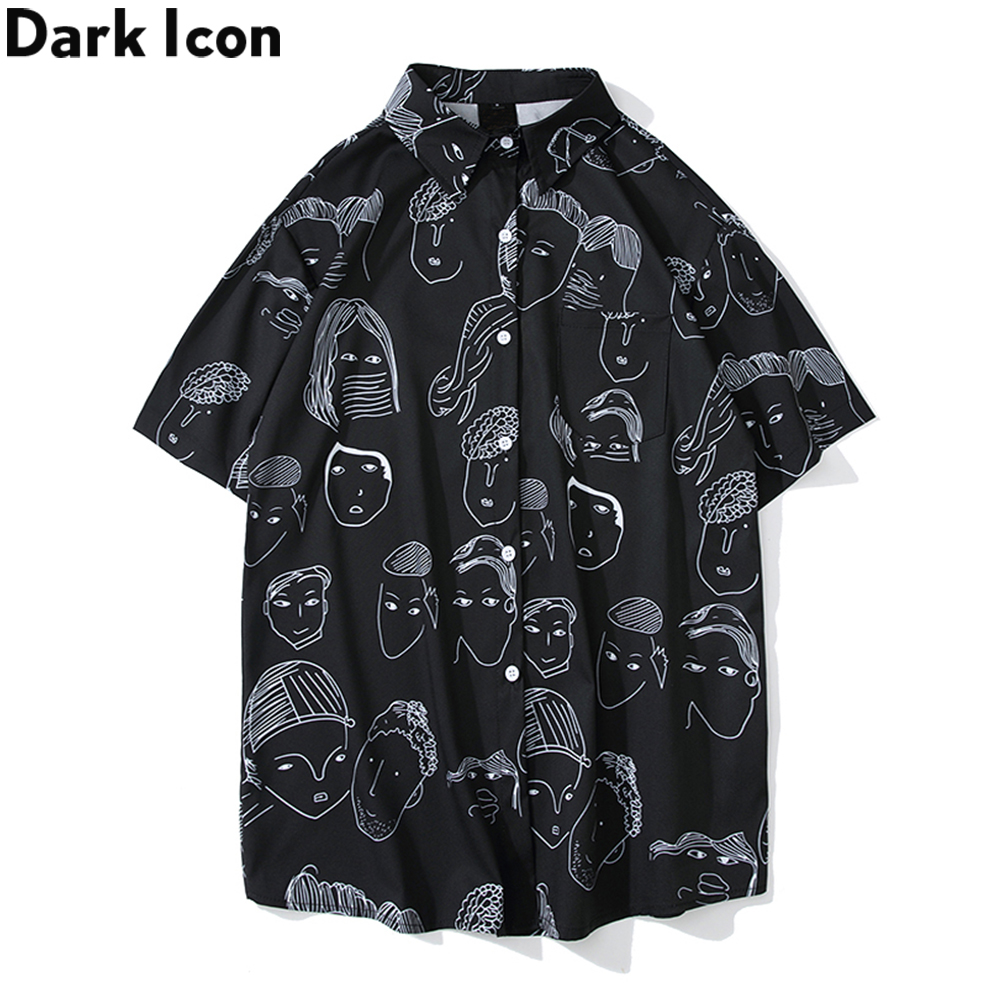 Dark Icon Harajuku Shirts Men 2019 Summer Beach Shirts Hawaii Tropical Style Men's Shirts Hip Hop Shirts image