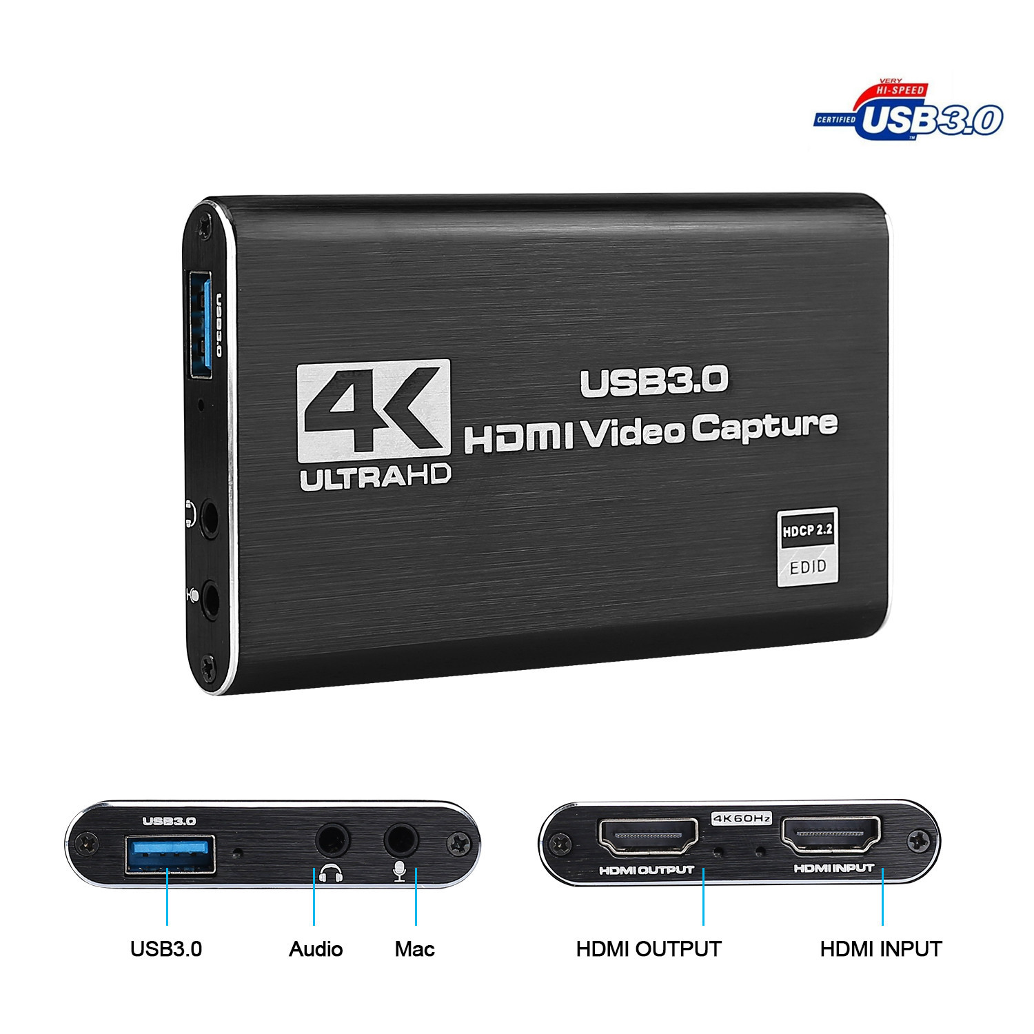 4K HDMI Game Capture Card USB3.0 1080P Reliable Portable Capture Card Device for Streaming Live Broadcasts Video Recording
