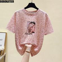 Short Sleeve T shirt Women Kawaii Clothes Pink Embroidery Summer T-shirt Woman Tops Casual Leopard Tee Shirt Korean Fashion 2021