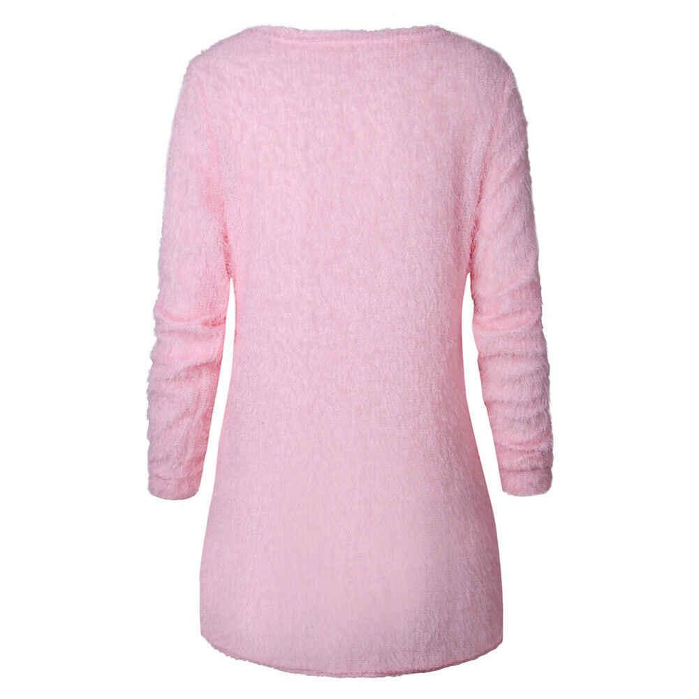 女性長袖フリース冬暖かいセーター純粋な色のカジュアルプラスサイズプルオーバー女性ロングトップセーター Mujer Invierno