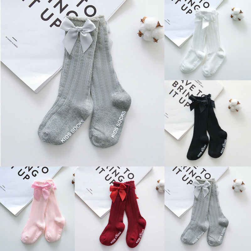 New Kids Toddlers Girls Big Bow Knee High Long Soft Cotton Lace Baby Socks Princess Sweet Dress Up Socks 0-4Y