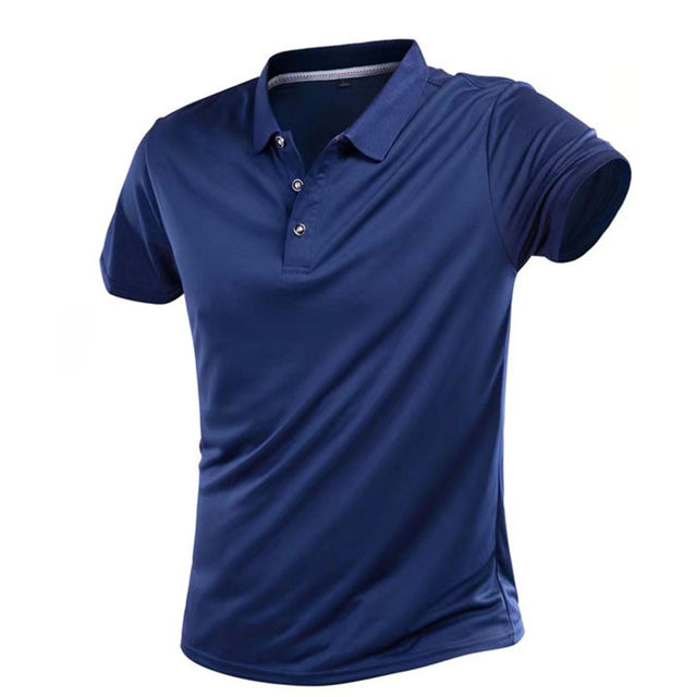 Summer Quick Dry Casual T Shirt Men Breathable Solid Short Sleeve Turn-Down Tops Sportswear Fitness Jerseys Golf T-Shirts 4XL 1