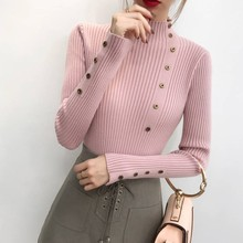 Autumn Women Sweater Turtleneck Long Sleeve Button Knit Sweater Solid Color  Bottoming Shirt Slim Tops