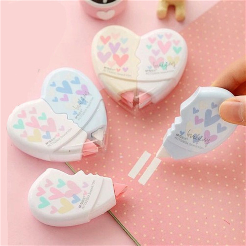 2 Pcs/pair Creative Love Heart Correction Tape Material Escolar Kawaii Stationery Office School Students Supplies Papelaria 12M