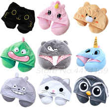 25 Kinds Cartoon U Shape Hoodie Travel Pillow Neck Cushion for Sleep Kawaii Animals Hooded Pillows