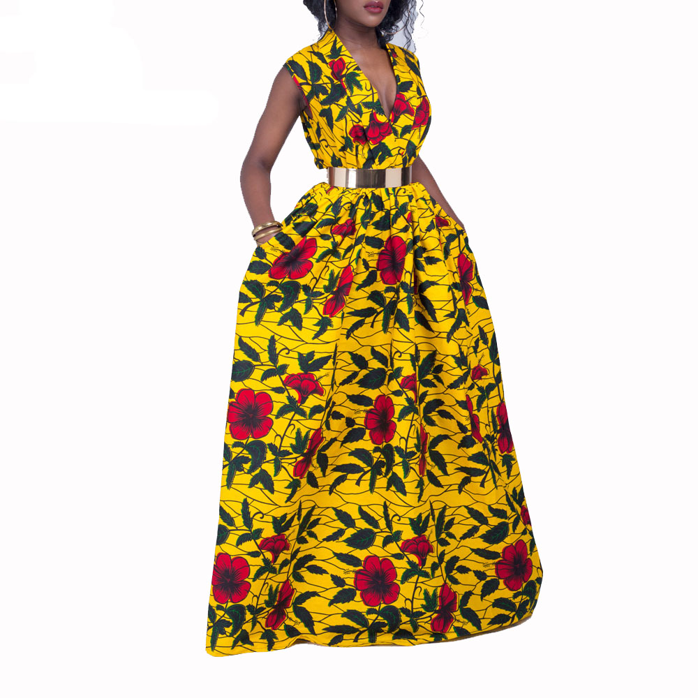 African Dresses For Women Ankara Print Maxi Dresses Fashion Women Party Dress Cotton Material Wax Print Traditional Clothing