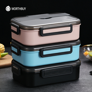Image 3 - Worthbuy日本子供ランチボックス304ステンレス鋼弁当ランチボックスコンパートメント食器電子レンジ食品容器ボックス