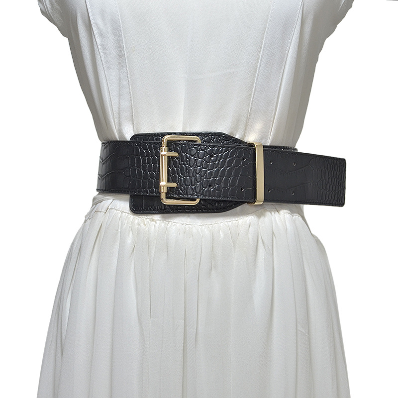 European And American Fashion Women's Belt New  Needle-buckle Wide Waist Sealing For Woman Design Imitation Crocodile Cintos