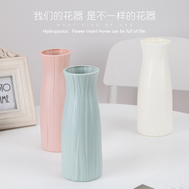 Plastic Flower Vase Decoration Home White Vases Imitation Ceramic Vase Flower Pot Decoration Nordic Style Flower Basket 3