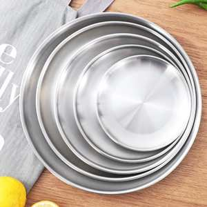 Round-Tray Jewelry Dinner-Plates Stainless-Steel Silver Snack Retro European-Style