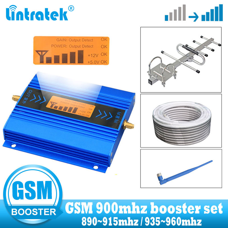 Lintratek GSM Signal Booster 900mhz Cellular Signal Communicaiton Amplifier GSM 900 Voice And Call 2G Repeater + Yagi Antenna