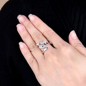 Image 2 - Klejnot balet naturalne niebo niebieski topaz oryginalna 925 sterling Silver pierścienie kwiatowe dla kobiet rocznica biżuterii prezent