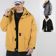Autumn New Casual Mens Clothing Men Letter Printing Three-dimensional Pocket Coat Fashion Long-sleeved Loose Hooded Jacket