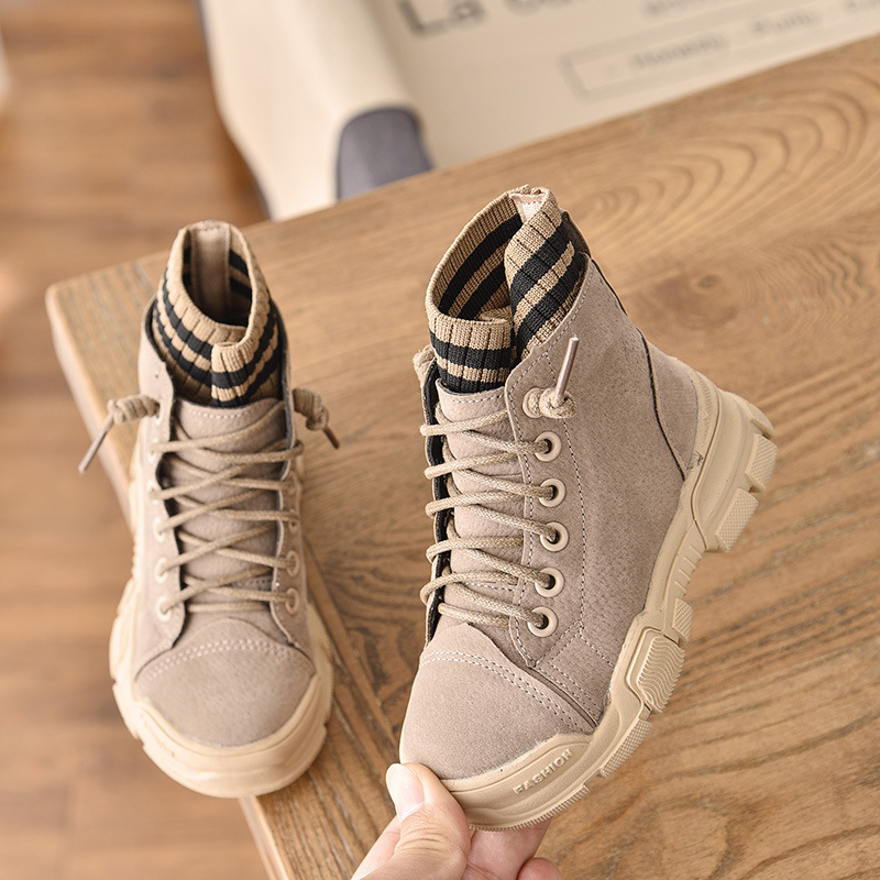2020 New Autumn Winter Girls Boots Warm Leather Boots Children High Maritn Boot Girls Fashion Knitting Shoes Kid Casual Sneakers
