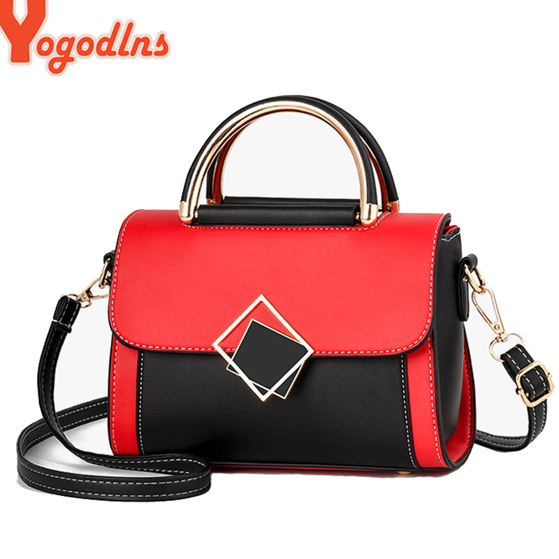 CIGONG Fashion Contrast Color Portable Leather Small Square Bag Lady Bags Color : Pink
