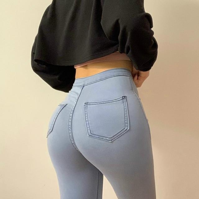 Slim Jeans For Women Skinny High Waist Woman Denim Pencil Pants Stretch Waist Slim Female Trousers Multi-size Spring Autumn 1