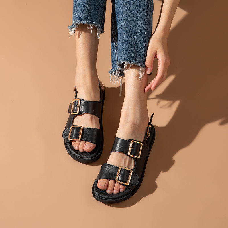 BeauToday Sandals Women Genuine Cow Leather Metal Detailed Ankle Buckle Strap Summer Beach Ladies Low Heel Shoes Handmade 38128