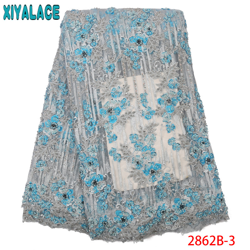 African Lace Fabric High Quality Lace With Beads Sequins Embroidery French Net Lace Fabric for Wedding Dresses KS2862B-3