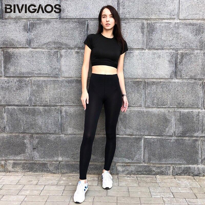 BIVIGAOS New Summer Ice Silk Cool Black Leggings Sexy Leggings Thin Stretch Slim Workout Leggings Ankle Pants Legins Women 2