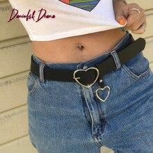 Best 2020 Women belt Fashion PU Leather Metal Heart Pin Buckle belt Party Dress Decor Waistband Women belt size 105 cm