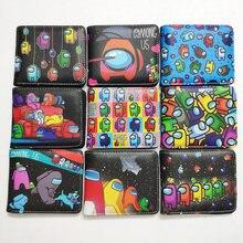 Мужские Двойные кошельки из искусственной кожи кошелек стильная футболка с изображением персонажей видеоигр между нами кошелек с кармашко...